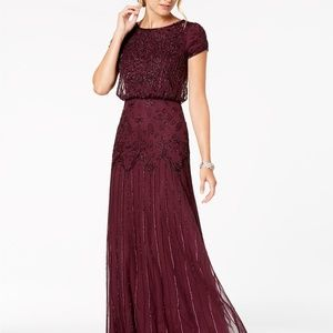 Adrianna Papell Petite Beaded Blouson Gown Cassis
